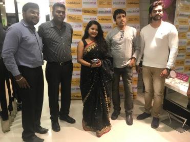 From LtoR- Mr. Hariraman, Cluster Manager, Mr. Sanjeev, Area Manager, Jayashree Raj, Actress and Chandan, Actor